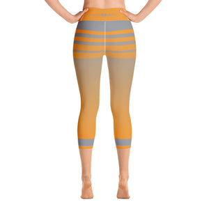 Light Orange and Grey Striped Yoga Capri Leggings - Valentino Unlimited