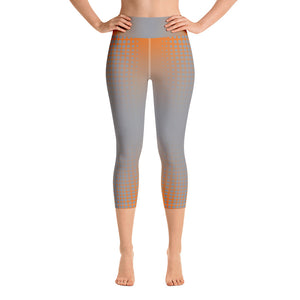 Orange Grey Dot Fade Yoga Capri Leggings