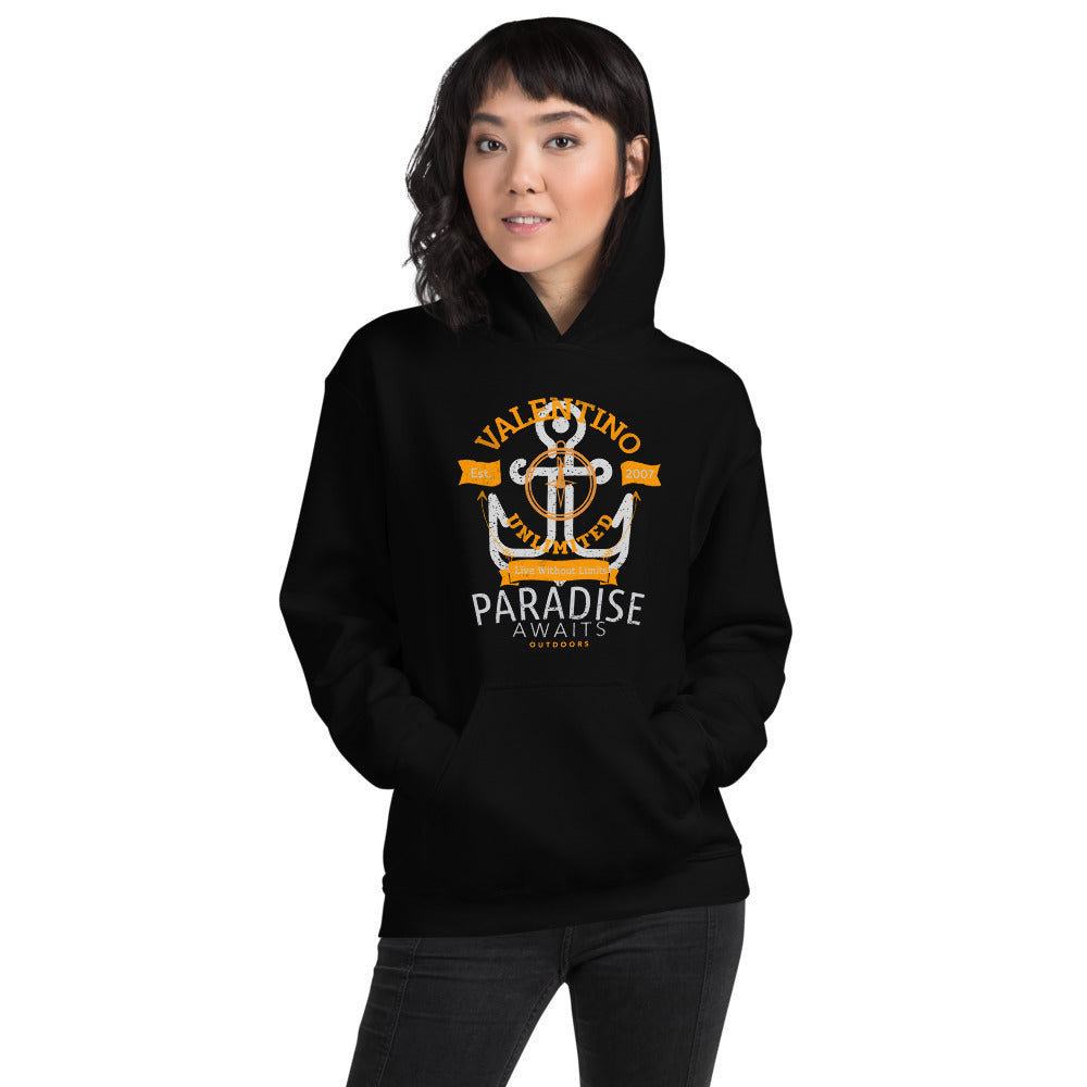 VALENTINO UNLIMITED OUTDOORS Paradise Awaits Anchor Unisex Hoodie - Valentino Unlimited