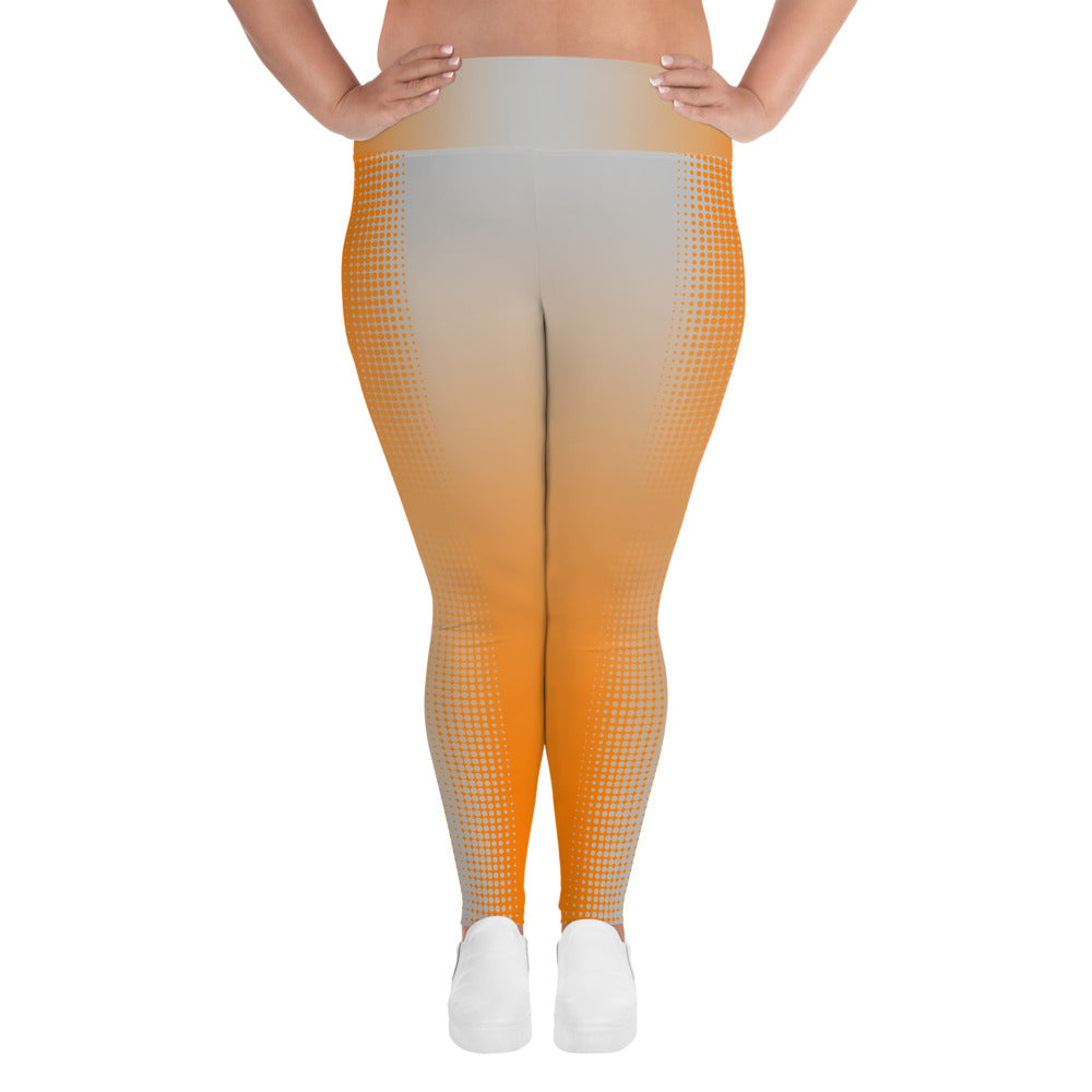 Orange and Grey Reverse Dot Fade Plus Size Leggings - Valentino Unlimited