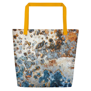 Cream Blue Rust Beach Bag