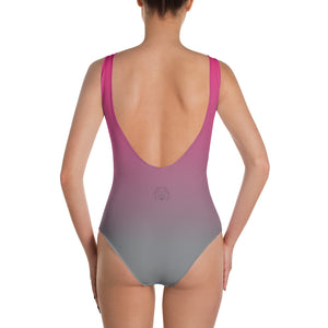 Pink to Grey Fade One-Piece Swimsuit