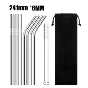 UPORS 4/8Pcs Reusable Stainless Steel Metal Straw with Cleaner Brush For Mugs 20/30oz
