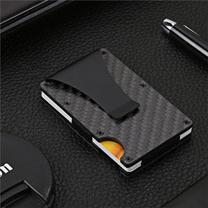 Slim Minimalist Carbon Fiber Wallet and Card Holder with Money Clip (Black) - Valentino Unlimited