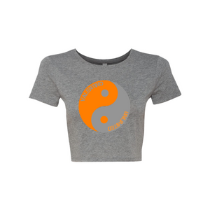 Orange and Grey Valentino Unlimited Yin Yang Women's Crop Tee - Valentino Unlimited