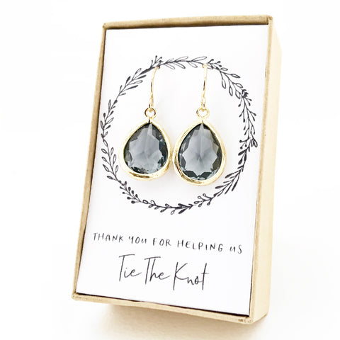 Charcoal Gold Teardrop Earrings