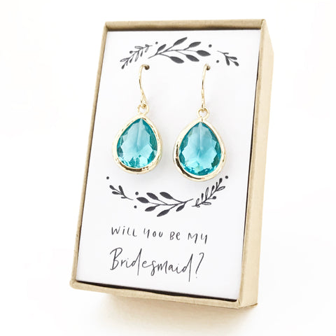 Aquamarine Gold Teardrop Earrings