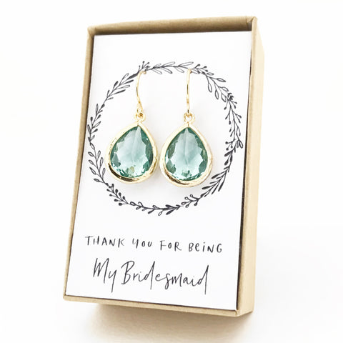 Erinite Gold Teardrop Earrings