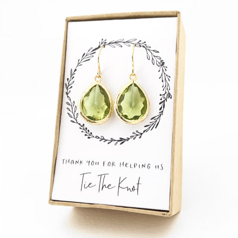Apple Green Gold Teardrop Earrings