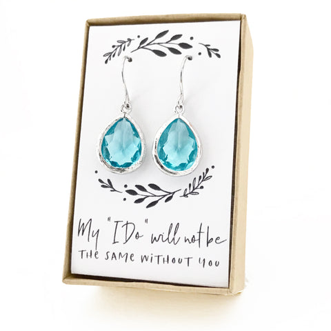 Aquamarine Silver Teardrop Earrings