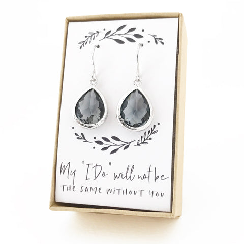 Charcoal Silver Teardrop Earrings