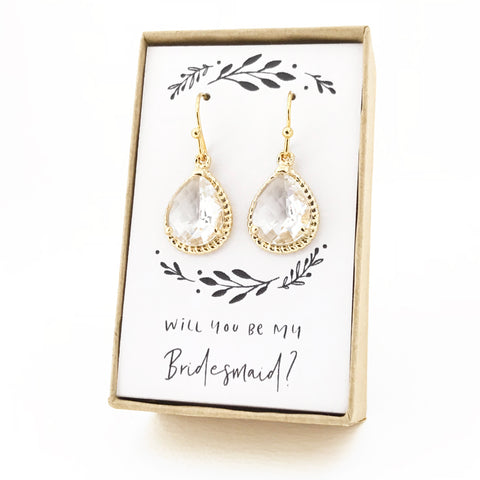 Crystal Gold Teardrop Rope Rim Earrings
