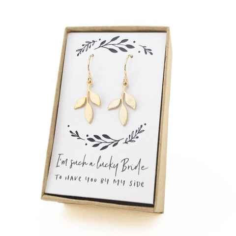 Gold Tiny Leaf Earrings