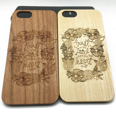 Flowers Quote Lord Wooden Wood Case iPhone7 Plus 6 6s 5s Jesus Christ Samsung S7/6/5 Edge