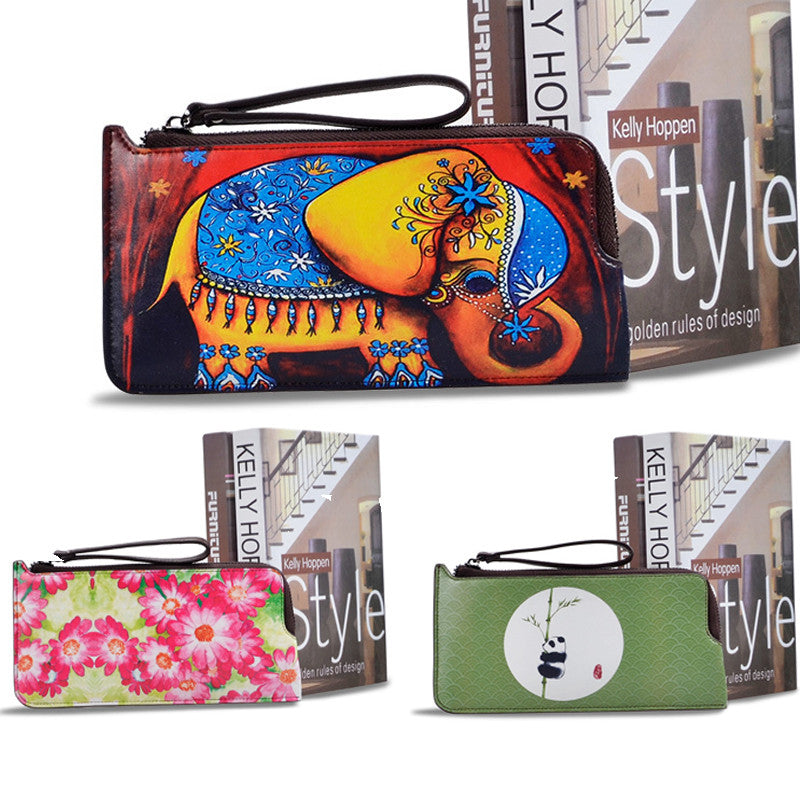 Genuine Leather Wallet Women Coloured 3D Drawing Painting Zipper Wallet