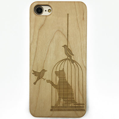 Simply Impressed Birdcage Cat Wooden Case for iPhone & Samsung Galaxy
