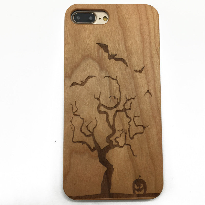 Halloween Spooky Pumpkin Wood Phone Cover Case iPhone and Galaxy S7/6