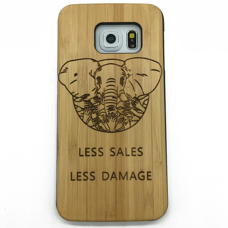 Save The Elephants Creative Design Wood Phone Case for iPhone7 Samsung S8 7 6 Edge