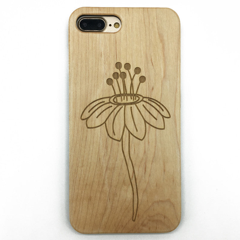 Flower (Y047) - wood wooden phone cover case-jiacase