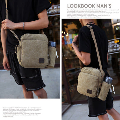 Men's Women's Canvas Bag Message Sling Bag Outdoor Cross Body Bag