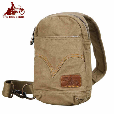 Men's Women's Vintage Canvas Backpack Shoulder Sling Bicycle Chest Hiking CrossBody Bag (GY15)