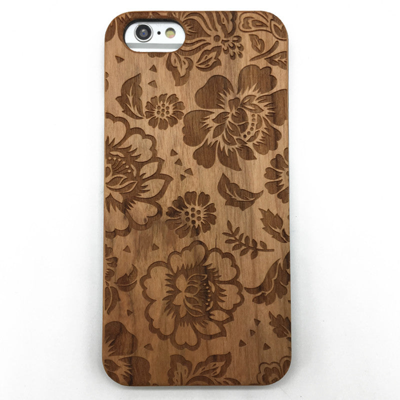 Flowers (Y035) - wood wooden phone cover case-jiacase