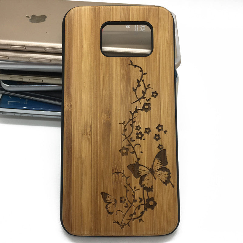 Butterfly Engraved Wooden Wood Phone Case Cover for iPhone Samsung S