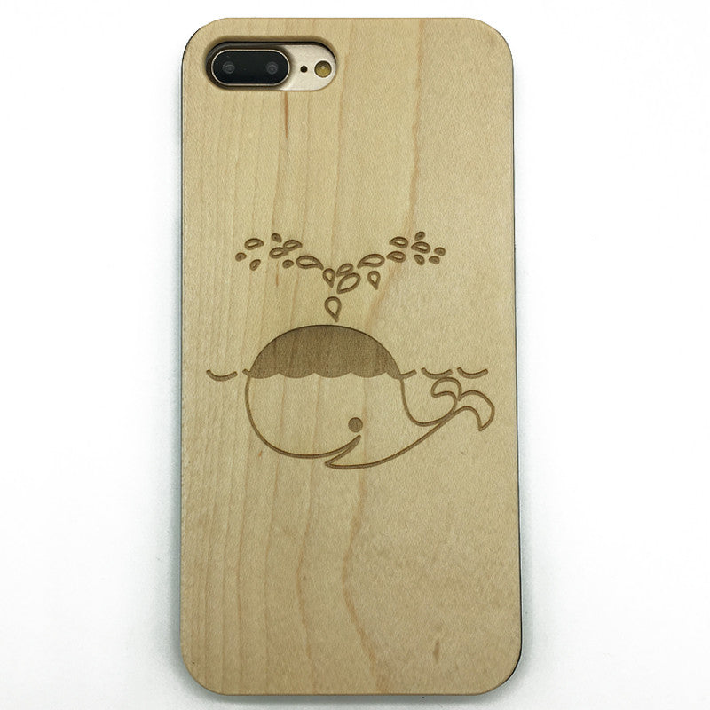 Whale blows (Y010) - wood wooden phone cover case-jiacase