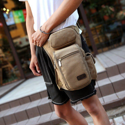 Men Canvas Drop Leg Bag Motorcycle Rider Tactical Military Bag