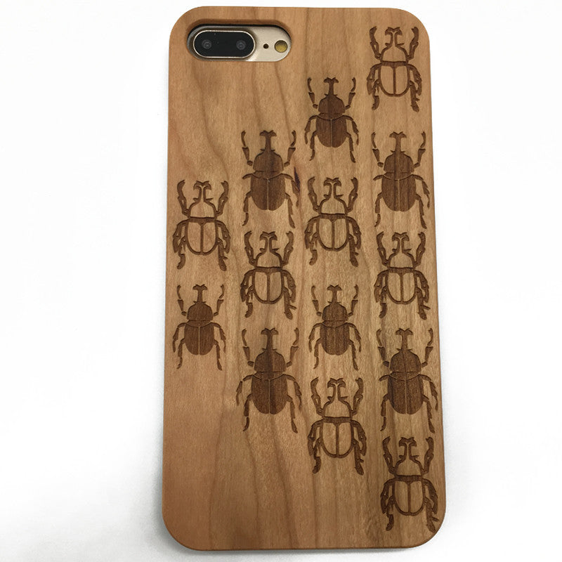 Beetles Wooden Wood case cover for iPhone 7/6/5 and Samsung galaxy S7