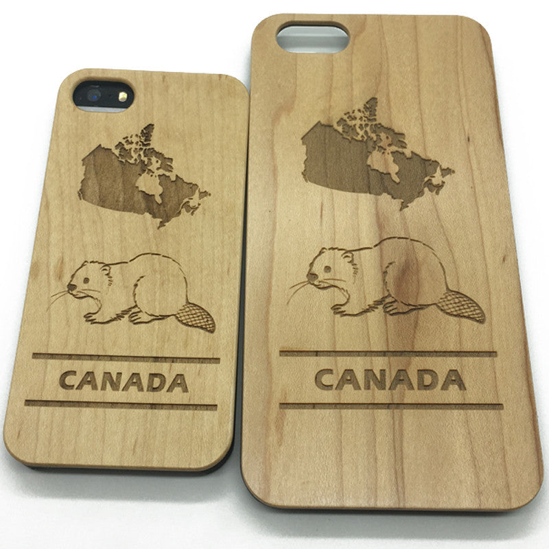 Canada symbol Beaver wooden Iphone 7 case,7 plus 6,6S wood mobile phone case