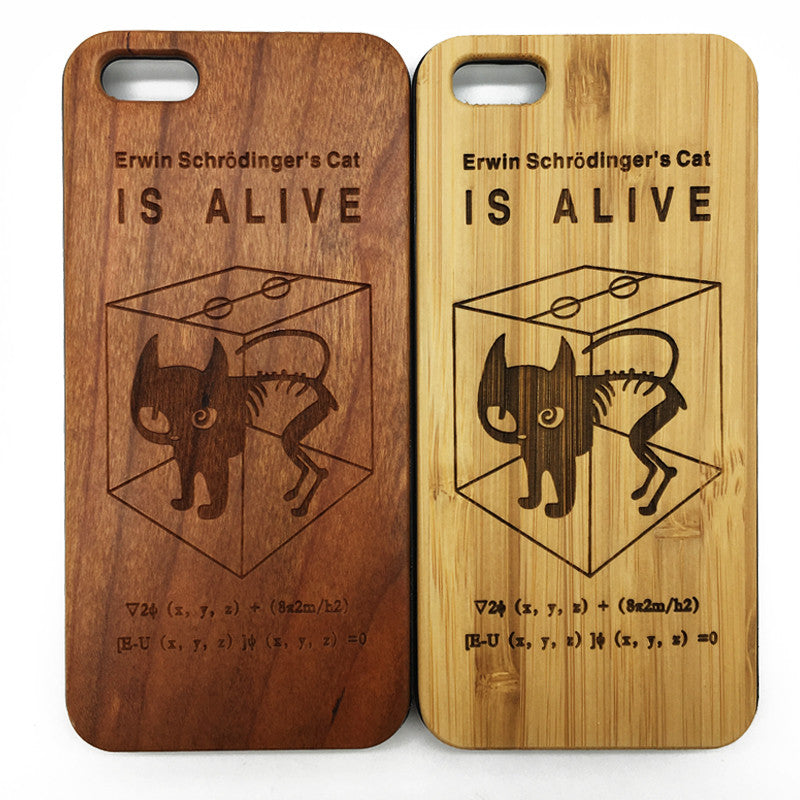 Erwin Schrödinger's Cat (Y029B) - wood wooden phone cover case-jiacase