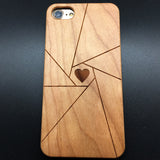 Heart (Y042) - wood wooden phone cover case-jiacase