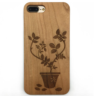 Potted Flower (Z21) - wood wooden phone cover case-jiacase