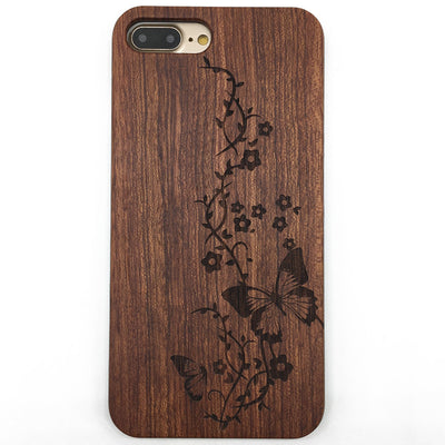 Butterfly inflorescence Wooden Phone Case iPhone 7 7Plus Samsung S7 S6