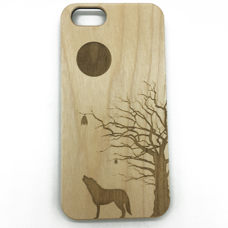 iPhone 7 Wood Case, iPhone 5, iPhone 7 Plus,wood Phone Case, Lone Wolf