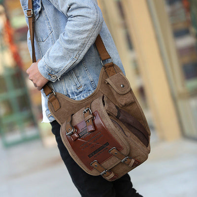 Men's Vintage Canvas Shoulder Bags Military Leather Patchwork Messenger Bag