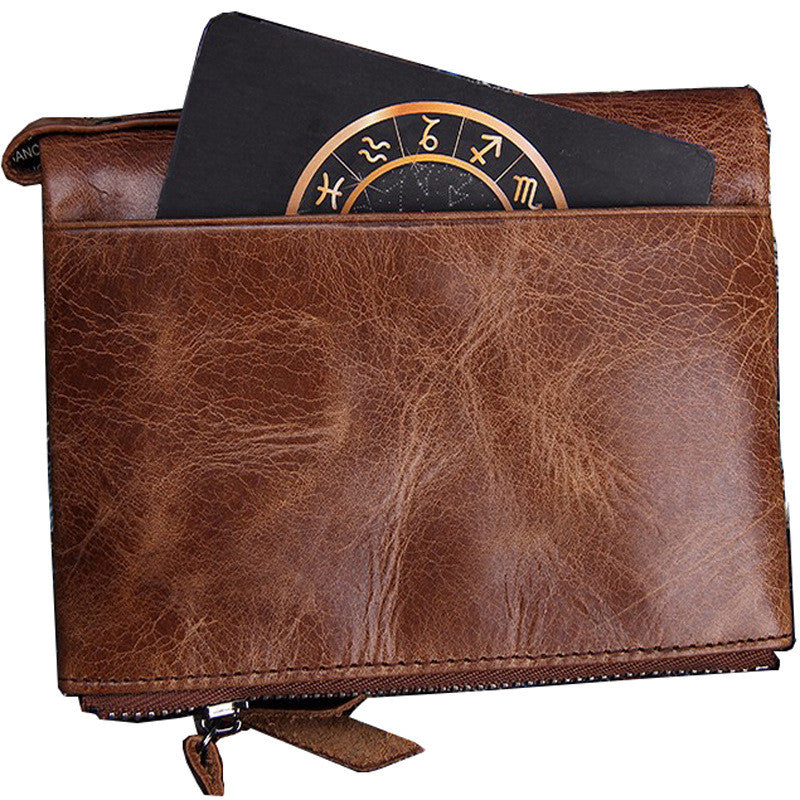 Mens Genuine Leather Bifold Wallet Double Zipper Pocket Wallet Coin Purse