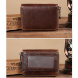 Business ID Credit Card Wallet Holder Genuine Leather Pocket Vintage Bifold