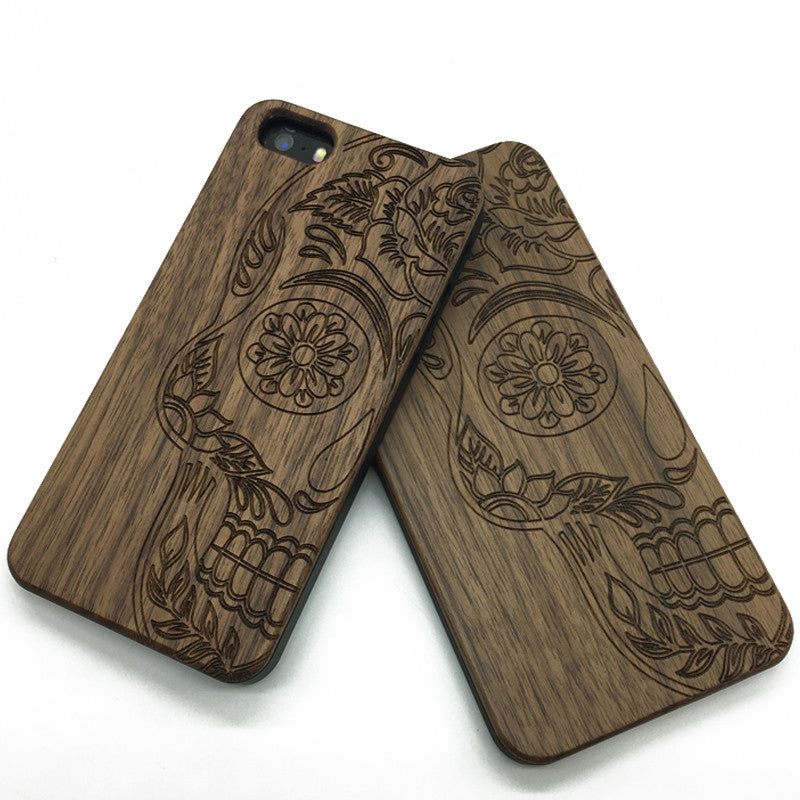 Half Sugar Skull wood engraved iPhone cases &Samsung galaxy phone case