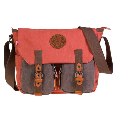 Men's Women's Vintage Canvas School Satchel Military Laptop Shoulder Messenger Bag (GY14)