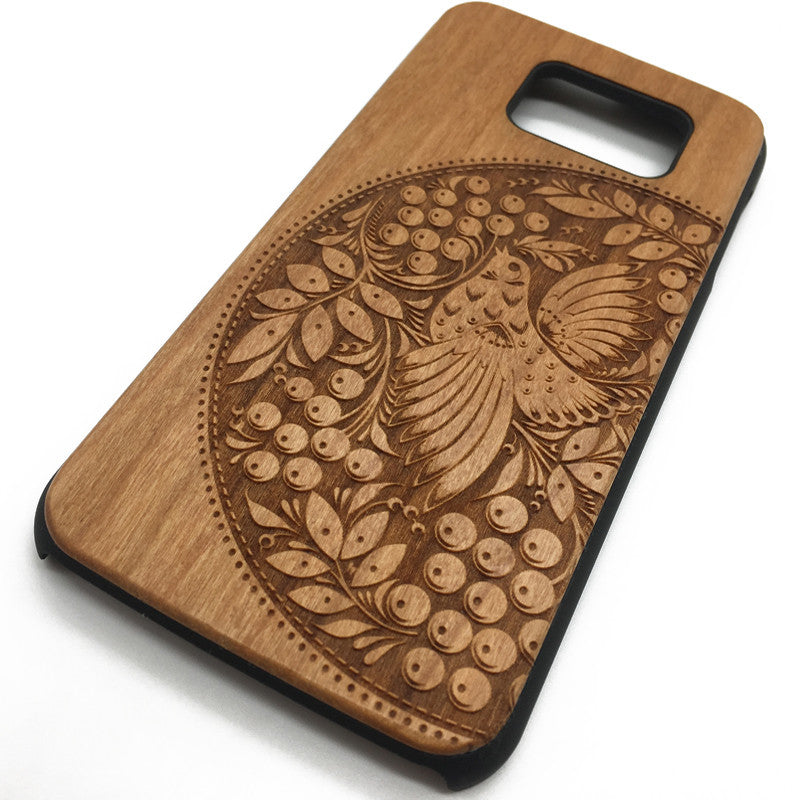 Half circle bird pattern (Y021B) - wood wooden phone cover case-jiacase