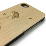 Sunflower pattern on wood phone case for iPhone case wood Samsung Galaxy