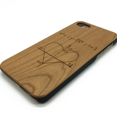 Cardioid heart Geometric designs on wooden phone case iPhone&Samsung