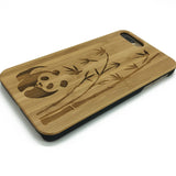 China Panda Bear on wood phone case for iPhone 7/6/5 & Samsung Galaxy