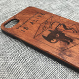 Erwin Schrödinger's Cat Laser Engraved in Wood Phone Case for iPhone i...