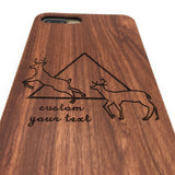 Wooden Deer Head Hipster Geometric Triangle iPhone Case&Samsung Galaxy