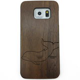 Engrave Dolphin Pattern on Wood Phone Case for iPhone & Samsung Galaxy