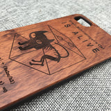 Erwin Schrödinger's Cat Laser Engraved In Wood Phone Case for iPhone