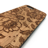 Flowers Pattern engrave on wood phone case for iPhone7&Samsung Galaxy